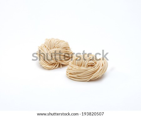 Chinese style dried noodles isolated on white background