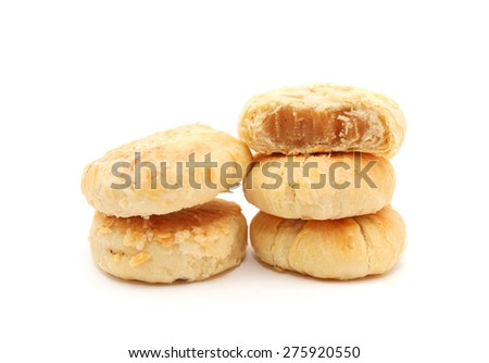 Chinese style lotus seeds paste puff pastry isolated on white - stock photo