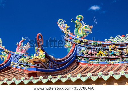 Chinese style roof and blue sky