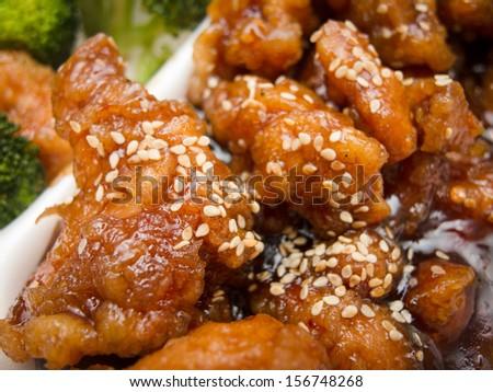 Chinese sweet sesame chicken - stock photo