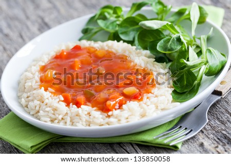 chinese sweet sour with rice - stock photo