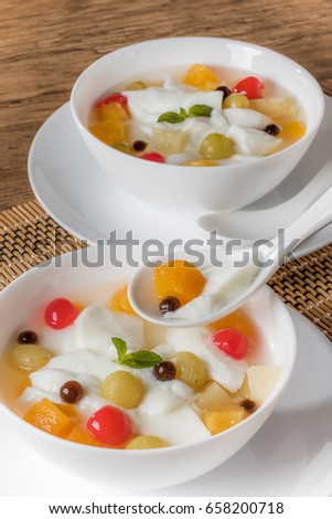 Chinese sweets Almond jelly and tapioca
