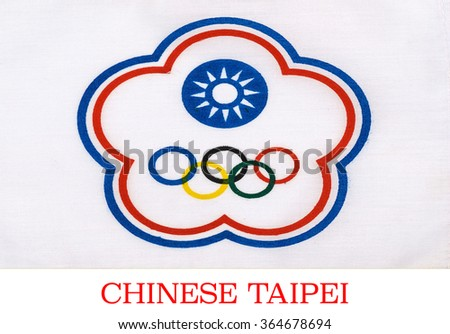Chinese Taipei flag on the mast  - stock photo