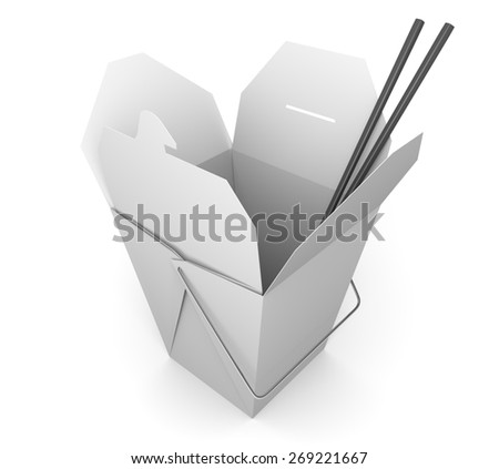 Chinese takeout box and chopsticks for Asian fast food