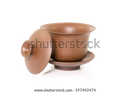 Chinese tea bowl with caps - stock photo
