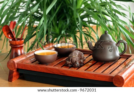 chinese tea ceremony in the morning - stock photo