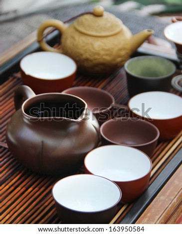 Chinese tea ceremony on bamboo table