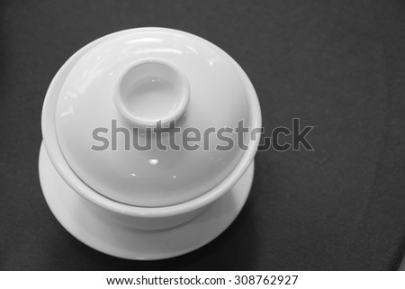 Chinese tea cup in monotone