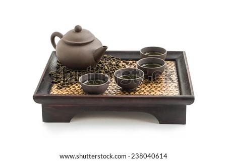 Chinese tea set isolated on white background - stock photo