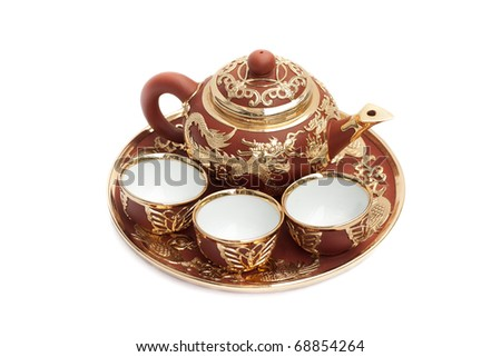 Chinese tea set isolated on white background
