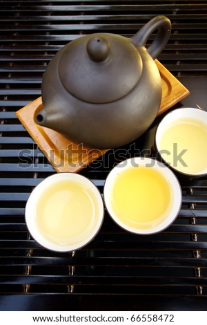 Chinese tea set shows chinese culture - stock photo