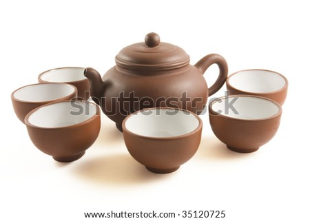 Chinese Tea set with small tea cups - stock photo