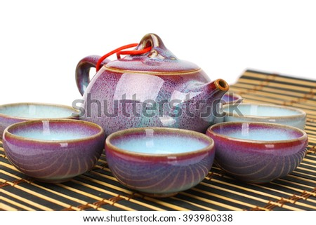 Chinese  teapot and teacup isolated on white