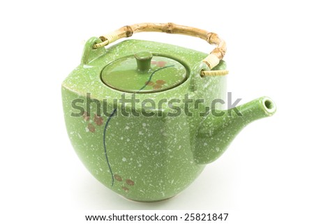 Chinese teapot with bamboo handle insulated on white background