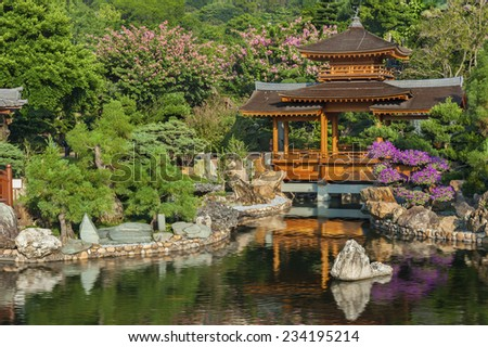 Chinese Temple - Chi Lin Nunnery in Hong Kong.  - stock photo