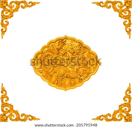 Chinese temple door in isolate - stock photo