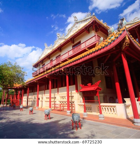chinese temple in Royal summer residence Bang Pa In, Thailand