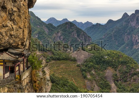 Chinese temple in the cliff and mountain scenery (Wenzhou yandang mountain in China.)