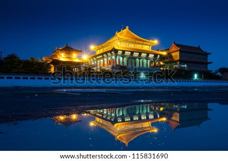 Chinese temple in the night at Thailand - stock photo