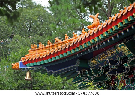 Chinese temple roof tile - stock photo