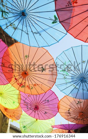 Chinese tradition, umbrella - stock photo