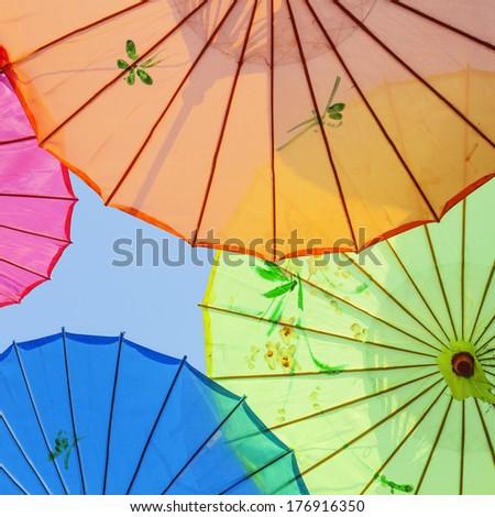 Chinese tradition, umbrella - stock photo