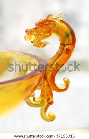Chinese traditional craft: colorful glass dragon - stock photo