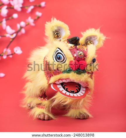 chinese traditional dancing lion - stock photo