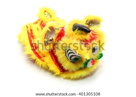 Chinese traditional dancing lion isolated on white background - stock photo