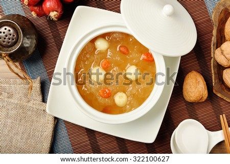 Chinese traditional dessert - Sweet white fungus and lotus seeds soup