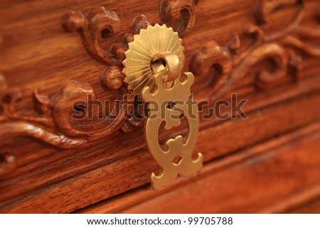 chinese traditional furniture copper hardware decoration - stock photo