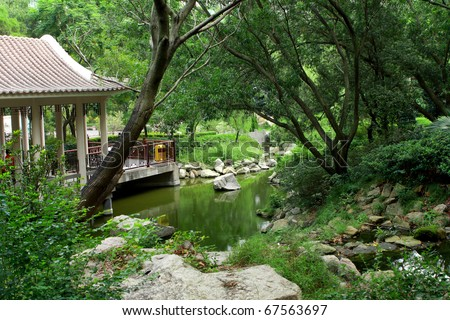 chinese traditional garden at day in hong kong