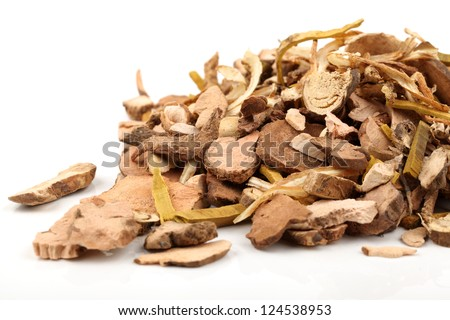 Chinese traditional herbal medicine on white background
