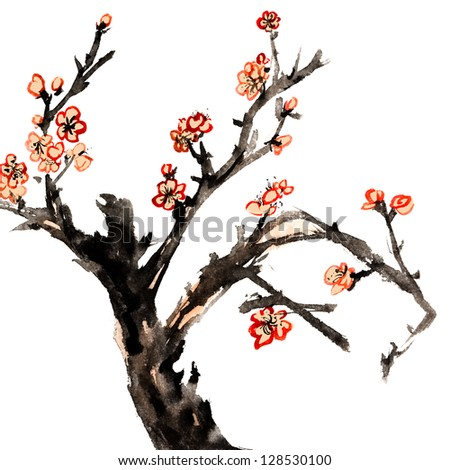 Chinese traditional ink painting, red plum blossom on white background. - stock photo