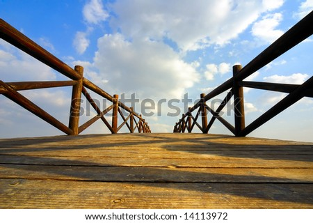 Chinese traditional style of wooden arch bridge