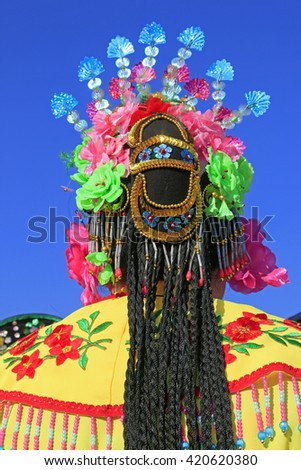 Chinese traditional style yangko folk dance performance headwear, luannan County, hebei Province, China