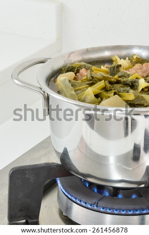 Chinese vegetable stew in the pot - stock photo