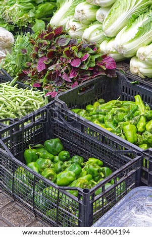 Chinese vegetables at asian food market - stock photo