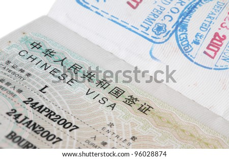 Chinese visa on the passport