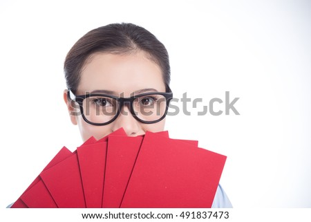 Chinese woman hold with chinese red pocket nice photo