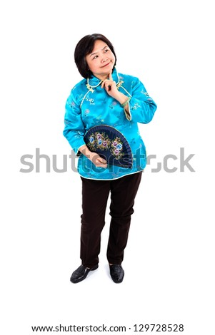 Chinese Woman wondering, holding traditional hand fan and smiles, full body on white background - stock photo