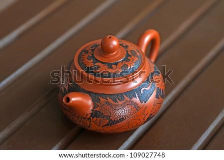 chinese yixing teapots, fine beautiful,handmade arts and crafts. - stock photo