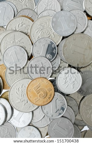 Chinese Yuan coins background - stock photo