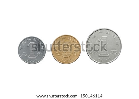 Chinese Yuan coins set back side isolated on white