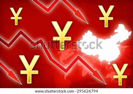 Chinese yuan crisis in China - concept news background illustration - stock photo
