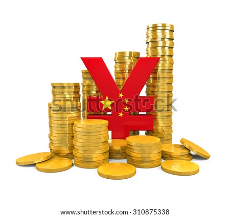 Chinese Yuan Symbol and Gold Coins - stock photo