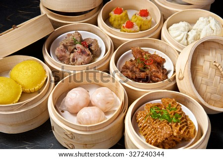 Chinese Yumcha Dimsum Set in bamboo container