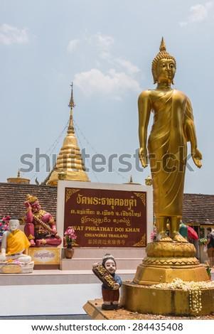 Chingmai Thailand - April 20: Buddha entrance Wat Phra That Doi Kham on April 20,2015 Chingmai. - stock photo