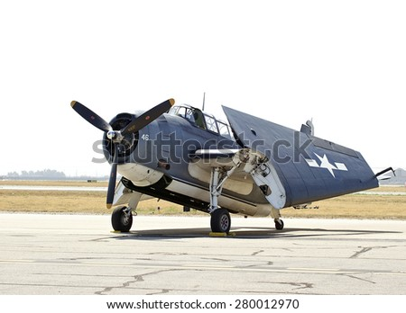 CHINO/CALIFORNIA - MAY 3, 2015: Vintage military aircraft on display at the Planes of Fame Airshow in Chino, California USA  - stock photo