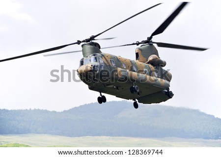Chinook CH-47, Tandem rotor military helicopter. - stock photo